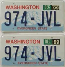 1999 Washington  (Pair) license plate for sale
