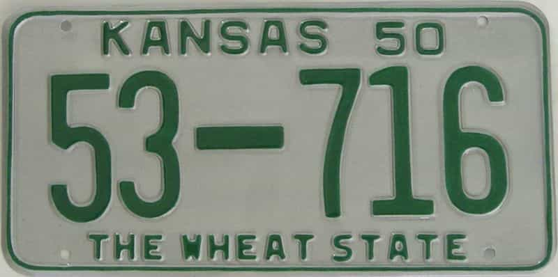 RESTORED 1950 KS license plate for sale