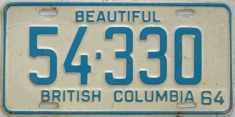1964 British Columbia  (Single) license plate for sale