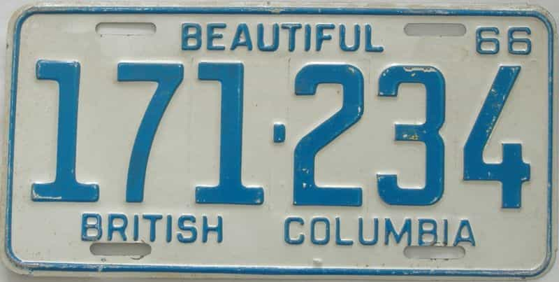 1966 British Columbia  (Single) license plate for sale
