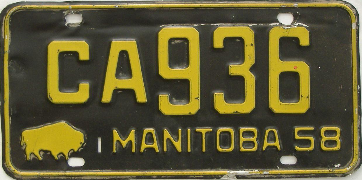 1958 Manitoba (Single) license plate for sale