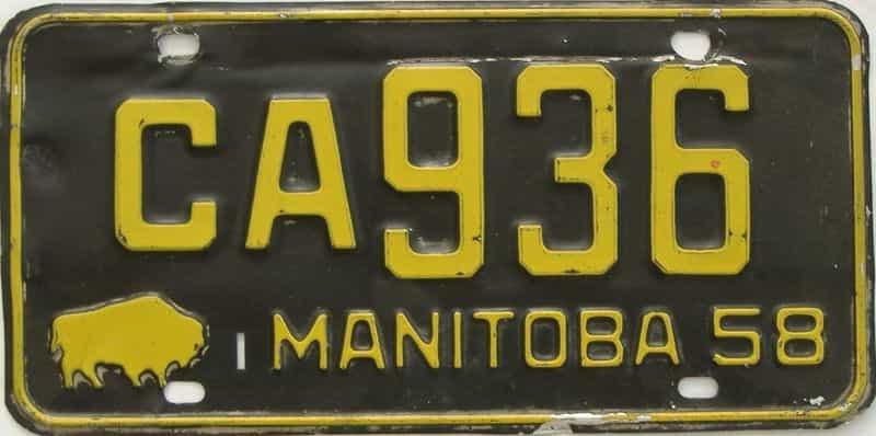 1958 CANADA (Manitoba) license plate for sale