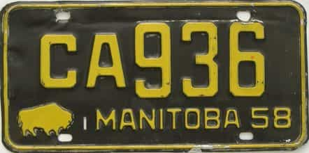 1958 Manitoba (Single) license plate for sale