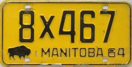 1964 Manitoba (Single) license plate for sale