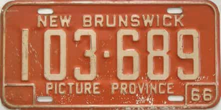 1966 New Brunswick (Single) license plate for sale