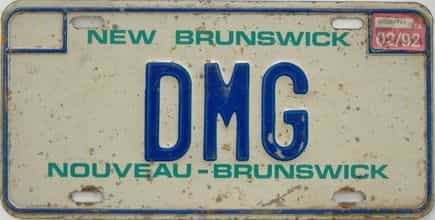 1992 New Brunswick (Single) license plate for sale