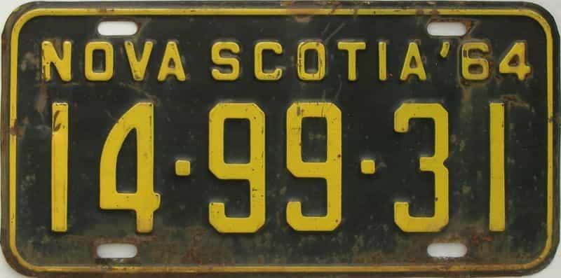 1964 Nova Scotia (Single) license plate for sale