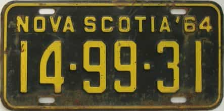 1964 Nova Scotia (Single) license plate for sale