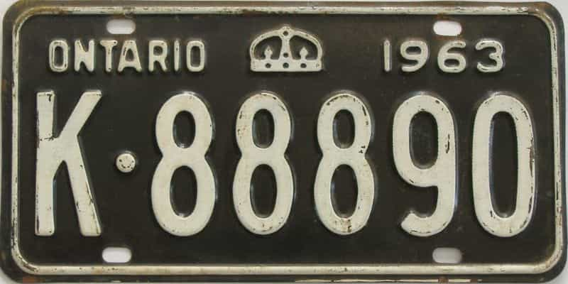 1963 Ontario (Single) license plate for sale