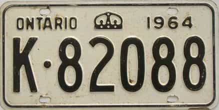1964 Ontario (Single) license plate for sale