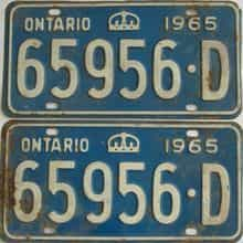 1965 Ontario (Pair) license plate for sale