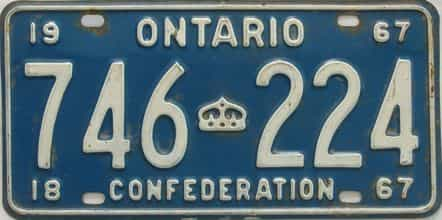 1967 Ontario (Single) license plate for sale