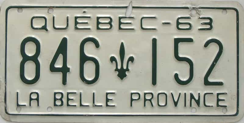1963 Quebec (Single) license plate for sale