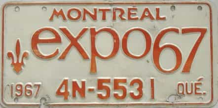 1967 Miscellaneous license plate for sale