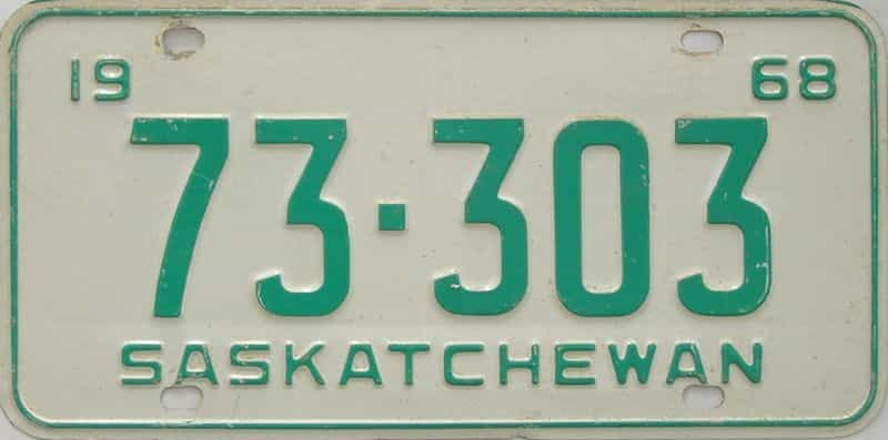 1968 Saskatchewan  (Single) license plate for sale