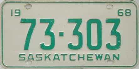 1968 Saskatchewan  (Single) license plate for sale