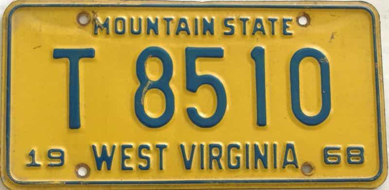 1968 WV (Trailer) license plate for sale