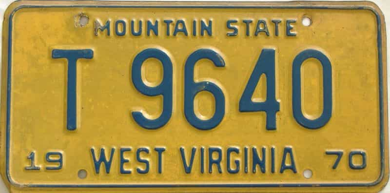 1970 West Virginia (Trailer) license plate for sale