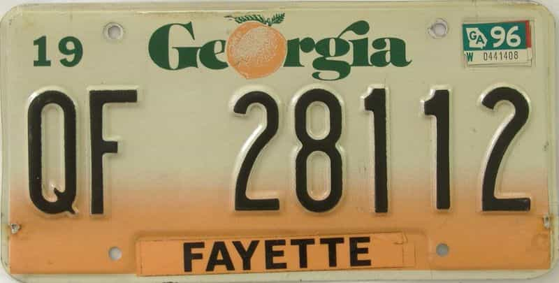1996 GA (Truck) license plate for sale
