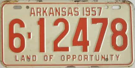1957 Arkansas license plate for sale