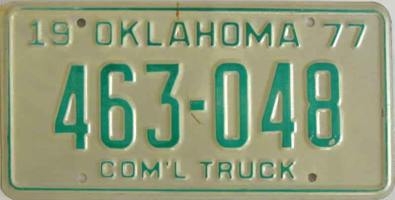 1977 OK (Truck) license plate for sale