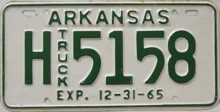 1965 Arkansas (Truck) license plate for sale