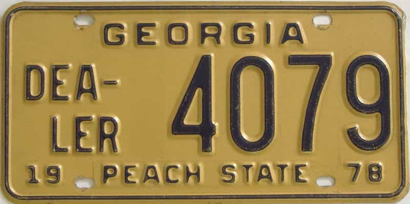 1978 GA (Dealer) license plate for sale