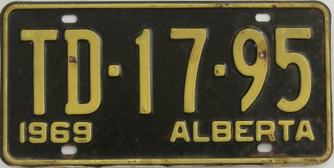 1969 Alberta (Single) license plate for sale