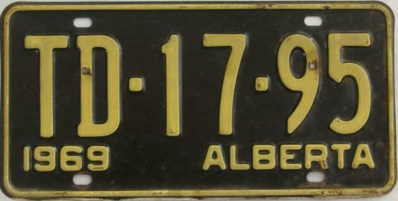 1969 Alberta (Single) license plate for sale