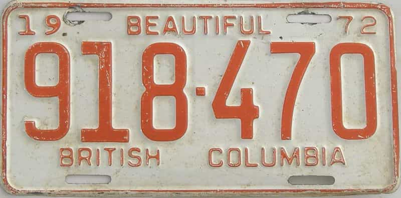 1972 CANADA (British Columbia) license plate for sale