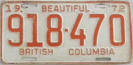 1972 British Columbia (Single) license plate for sale