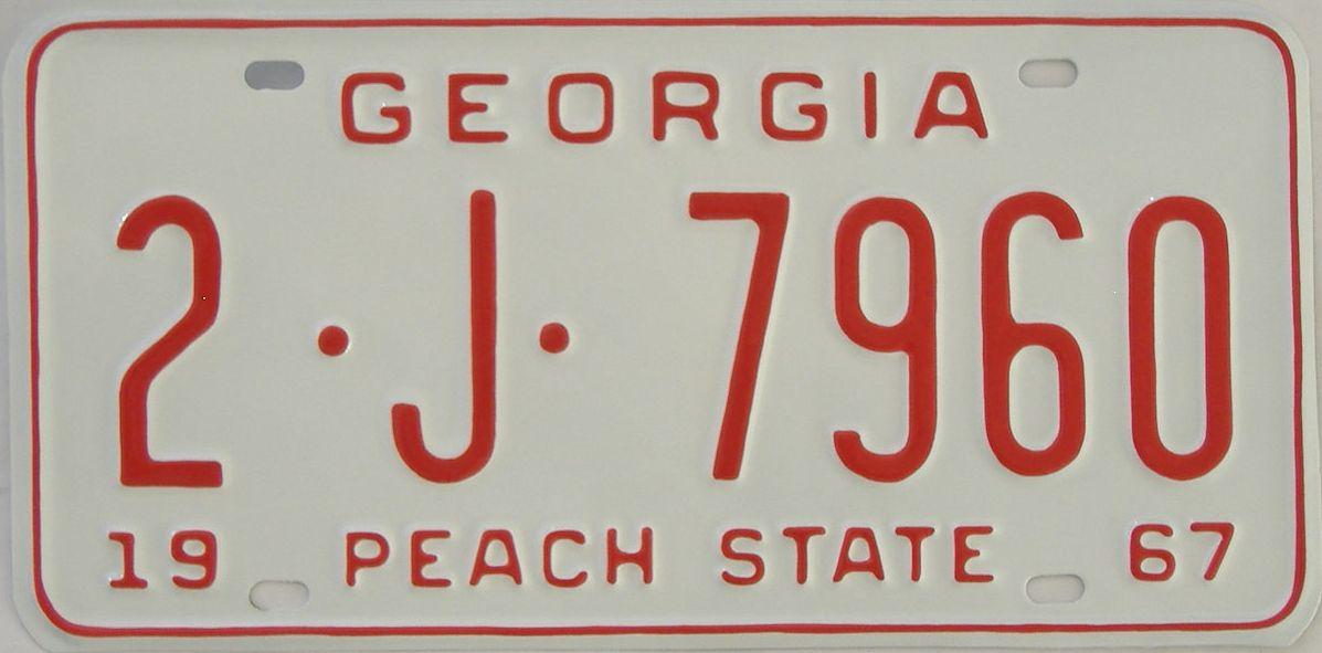 YOM RESTORED 1967 Georgia license plate for sale