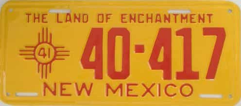 RESTORED 1941 New Mexico (Single) license plate for sale