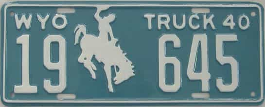 RESTORED 1940 Wyoming (Truck) license plate for sale