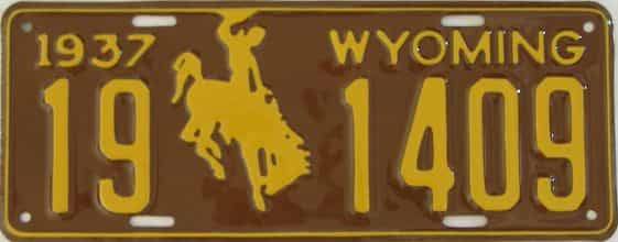RESTORED 1937 Wyoming (Single) license plate for sale
