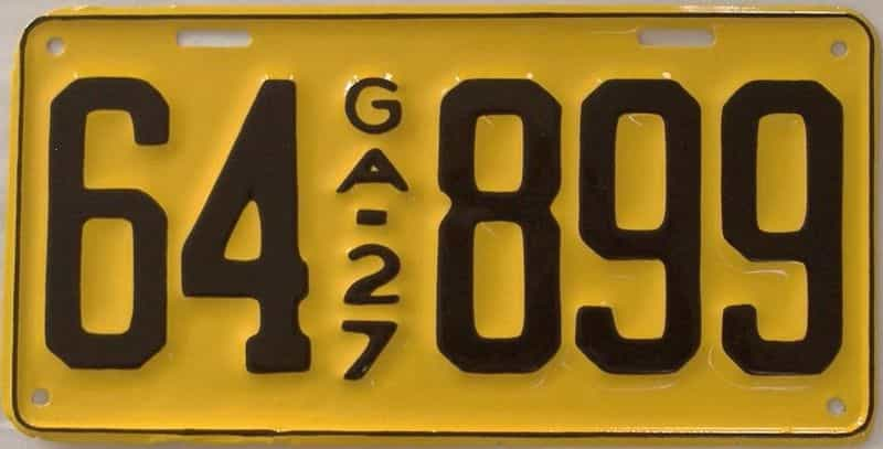 YOM RESTORED 1927 GA license plate for sale