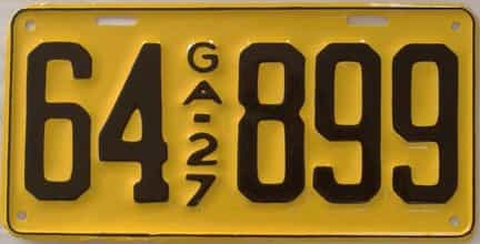 YOM RESTORED 1927 Georgia license plate for sale