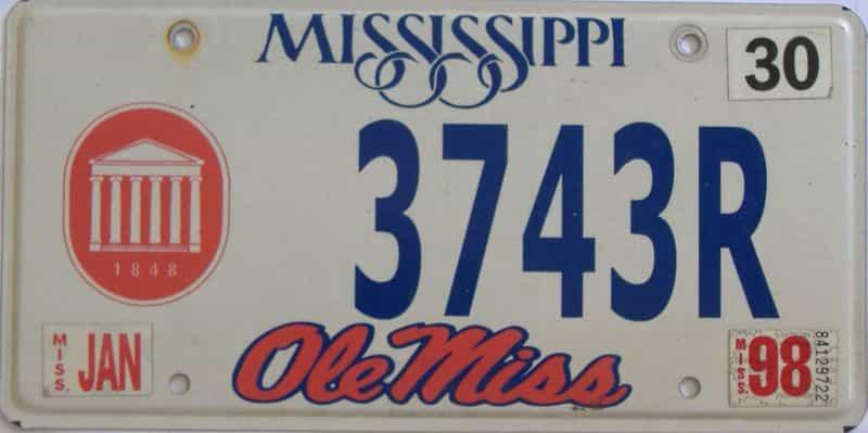 1998 Mississippi license plate for sale