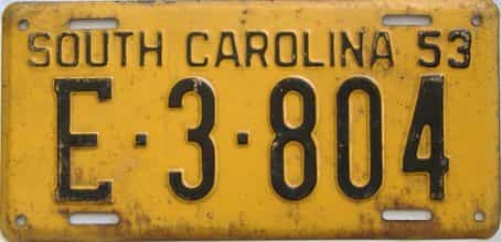 1953 South Carolina license plate for sale