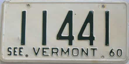 1960 Vermont  (Single) license plate for sale