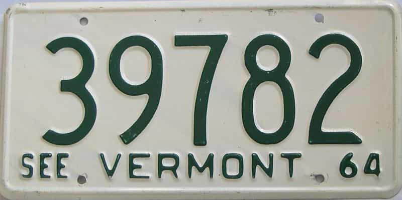 1964 VT (Single) license plate for sale