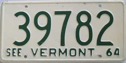 1964 Vermont (Single) license plate for sale