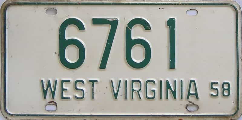 1958 West Virginia license plate for sale