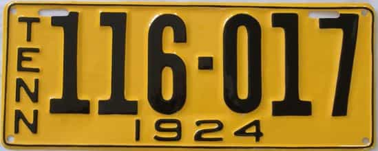 RESTORED 1924 Tennessee (Single) license plate for sale