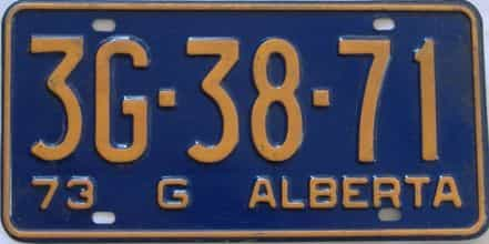 1973 Alberta (Single) license plate for sale