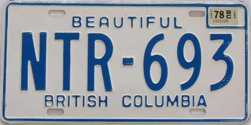 1978 British Columbia (Single) license plate for sale