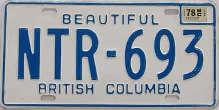 1978 British Columbia (Single) license plate for sale