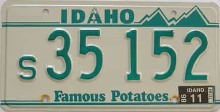 2011 Idaho (Single) license plate for sale