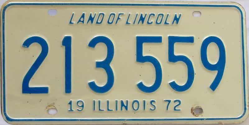1972 Illinois  (Single) license plate for sale