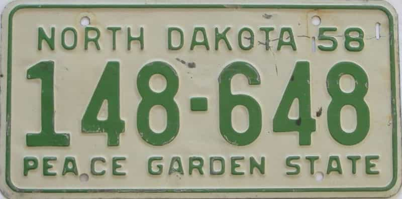1958 ND (Single) license plate for sale